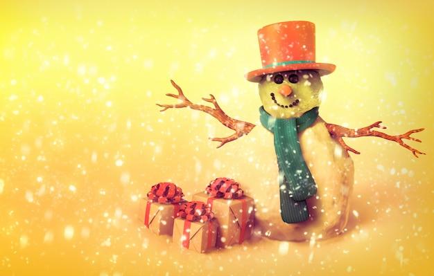 Sneeuwpop en kerstcadeaus, vintage stijl