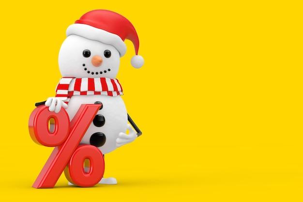 Sneeuwpop in kerstman hoed karakter mascotte met rode retail procent verkoop of korting teken op een gele achtergrond. 3d-rendering