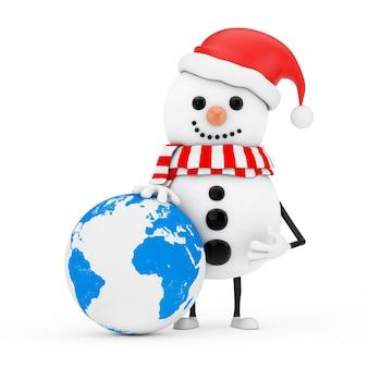 Sneeuwpop in santa claus hat character mascot met earth worldwide globe op een witte achtergrond. 3d-rendering