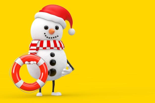 Sneeuwpop in santa claus hat character mascot met reddingsboei op een gele achtergrond. 3d-rendering