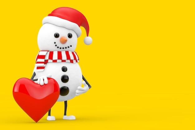 Sneeuwpop in santa claus hat character mascot met rood hart op een gele achtergrond. 3d-rendering