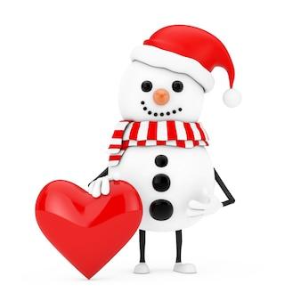 Sneeuwpop in santa claus hat character mascot met rood hart op een witte achtergrond. 3d-rendering