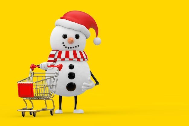 Sneeuwpop in santa claus hat character mascot met shopping cart trolley op een gele achtergrond. 3d-rendering