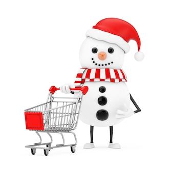 Sneeuwpop in santa claus hat character mascot met shopping cart trolley op een witte achtergrond. 3d-rendering