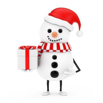 Sneeuwpop in santa claus hat karakter mascotte met geschenkdoos met rood lint op een witte achtergrond. 3d-rendering