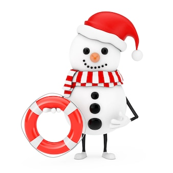 Sneeuwpop in santa claus hat karakter mascotte met reddingsboei op een witte achtergrond. 3d-rendering