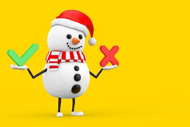 Sneeuwpop in santa claus hat karakter mascotte met rode kruis en groen vinkje, bevestigen of ontkennen, ja of nee pictogram teken op een gele achtergrond. 3d-rendering