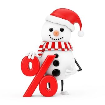 Sneeuwpop in santa claus hat karakter mascotte met rode retail procent verkoop of korting teken op een witte achtergrond. 3d-rendering