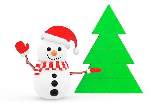 Sneeuwpop met abstracte kerstboom op een witte achtergrond