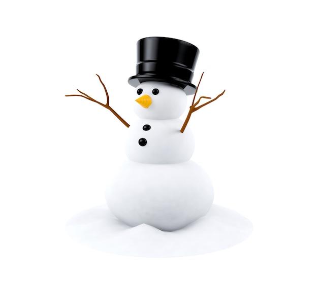 Sneeuwpop met hoed Premium Foto
