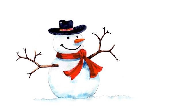 Sneeuwpop met zwarte hoed en rode sjaal met de hand gemaakt en waterverf schilderij