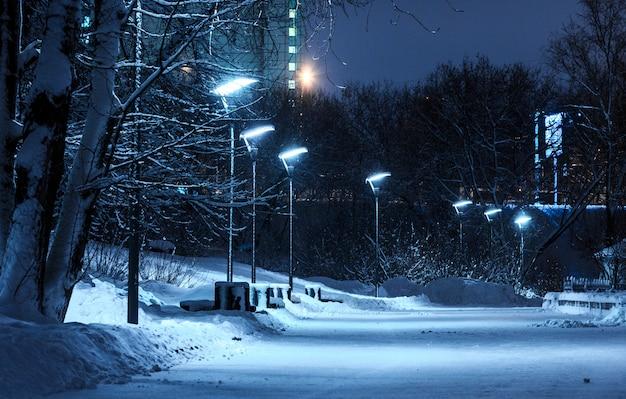 Sneeuwstraten in het park in de avond