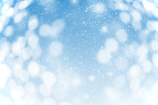 Sneeuwval op blauwe achtergrond