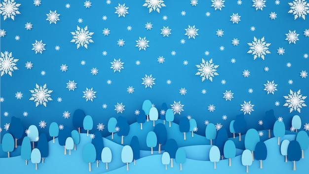 Sneeuwvlok en bos in de berg op blauwe hemelachtergrond. kunstwerk voor kerstmis of gelukkig nieuwjaar.