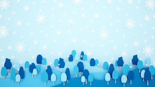 Sneeuwvlok en bos in de berg op blauwe hemelachtergrond.