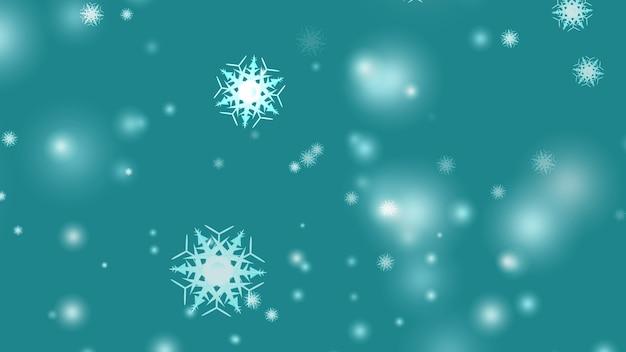 Sneeuwvlokken vallen op onscherpe cyaan achtergrond