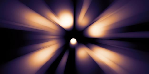 Snel bewegende lichtsporen zoom explosie van licht 3d illustratie