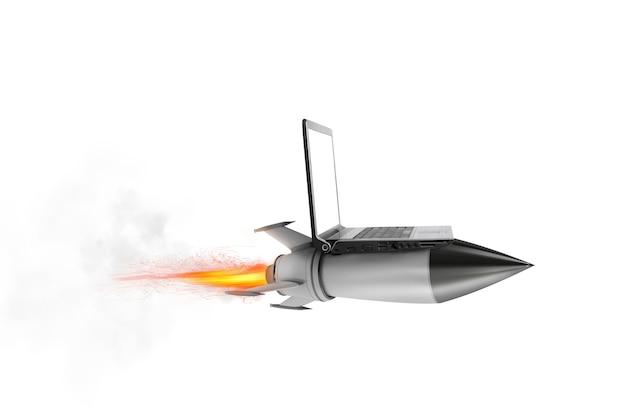 Snel internetconcept met een laptop over een snelle raket