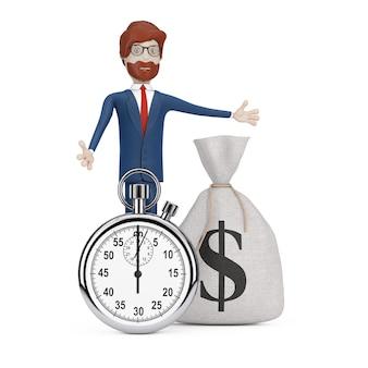 Snel leningconcept. cartoon karakter zakenman in de buurt van stopwatch en gebonden rustieke canvas linnen geldzak of geldzak met dollarteken op een witte achtergrond. 3d-rendering