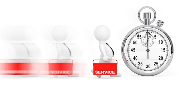 Snel serviceconcept. 3d-personen met rode toolbox en chronometer op een witte achtergrond