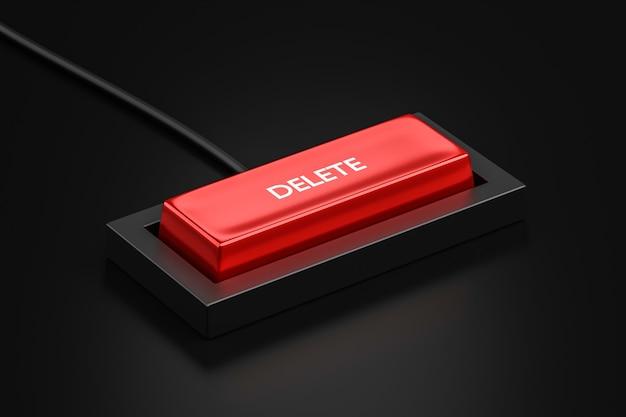 Snelkoppelingsknop verwijderen en toetsenbordconcept van de achtergrond van het controletoetsenbord verwijderen of wissen. 3d-weergave.