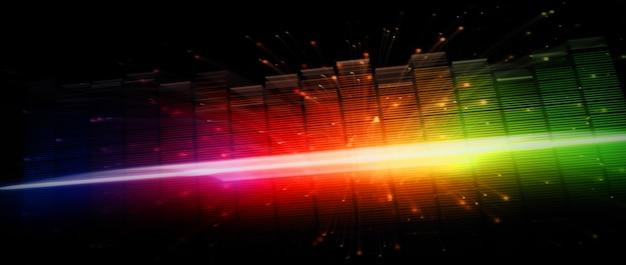 Snelle muziek-equalizerbalk verplaatsen. vertegenwoordigen dieper geluid en emotioneel in geluid van muziek. audio golfvorm equalizer op zwarte achtergrond. visualizer abstract. digitale grafiek beweegt en gloeit in het donker.