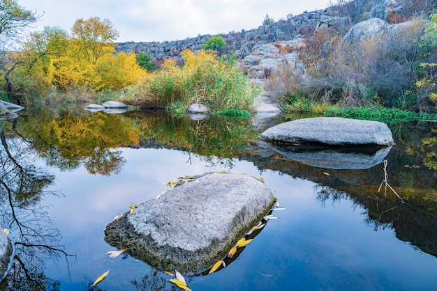 Snelle, ondiepe, schone stroom loopt tussen gladde, natte grote stenen