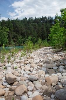 Snelle rivier met stroomversnellingen hoog in de bergen