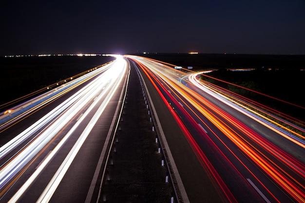 Snelweg auto licht paden