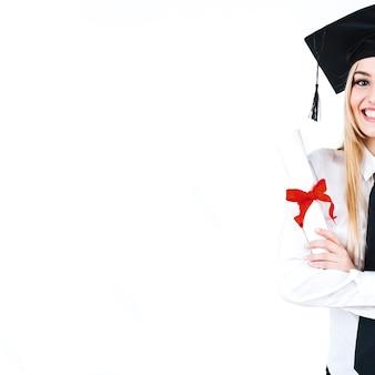 Snij opgewonden alumnus met diploma