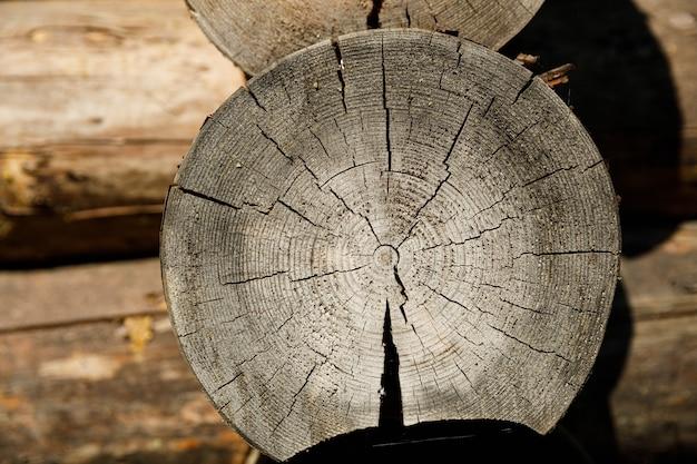 Snijd boomstammen in een oud houten huis. hoge kwaliteit foto