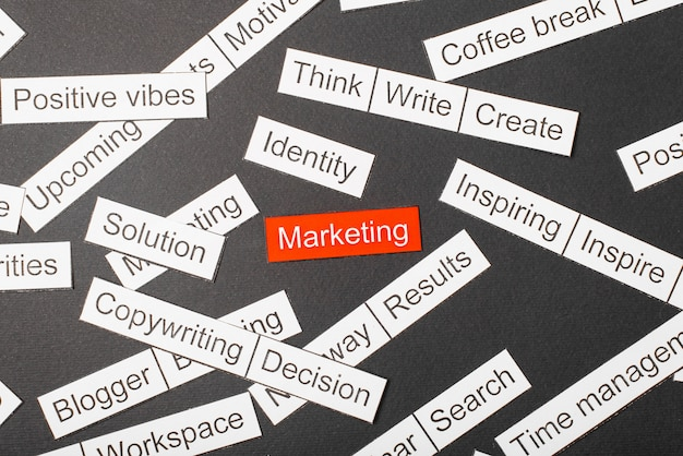 Snijd papier inscriptie marketing