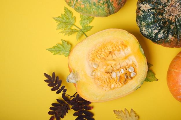 Snijd pompoen en verschillende pompoenen op een gele achtergrond, bovenaanzicht, herfstbladeren en pompoenen met gezwellen op de schil