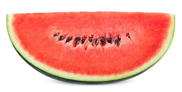 Snijd rode watermeloen geïsoleerd op een witte achtergrond. watermeloen uitknippad