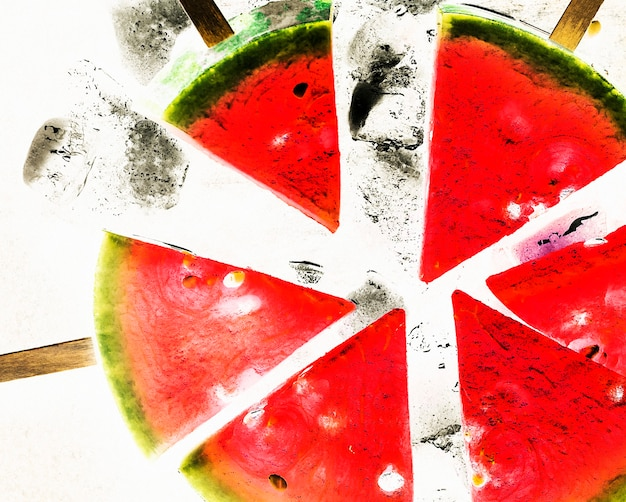 Snijd watermeloen vers op stokjes
