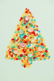 Snoepjes kerstboom, bovenaanzicht