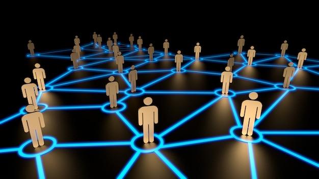 Sociaal netwerkconcept, menselijke figuren op blauwe lijn. 3d rendering