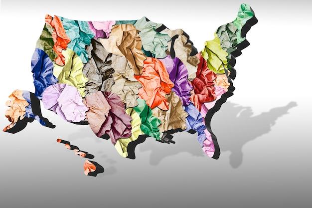 Sociaal protest van de samenleving in de verenigde staten. nationaliteit, geloof en overtuiging. racisme. sociaal protest in amerika. mensen in de vorm van silhouetten van verfrommeld papier. concept voor ontwerp. 3d-beeld.