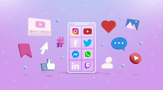 Social media-applicatie op de telefoon met sociale netwerkpictogrammen rond 3d