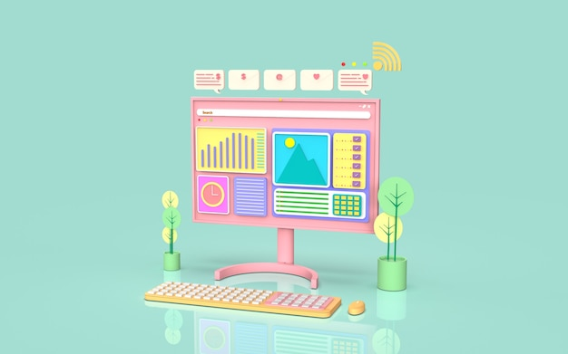 Social media digitale marketing concept illustratie schattig 3d-rendering