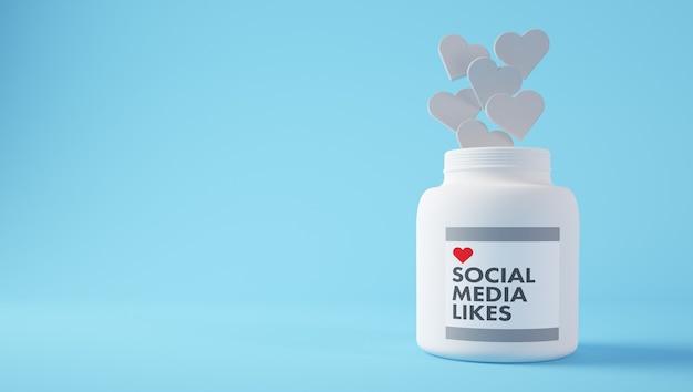 Social media houdt van pillen 3d-rendering