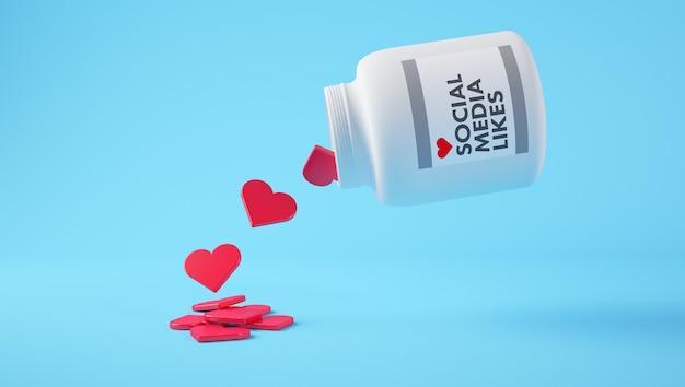 Social media houdt van pillen concept 3d-rendering