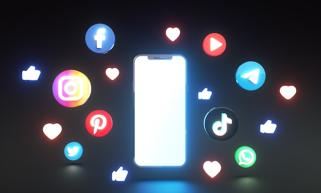 Social media iconen en logo's rond slimme telefoon 3d gloeiende stijl met leeg scherm voor kopieerruimte
