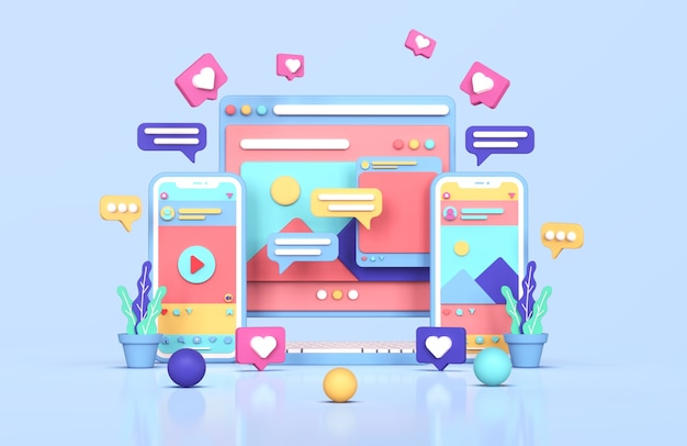 Social media instagram digitale marketing concept 3d-rendering