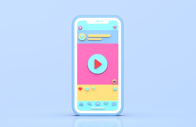 Social media instagram videopost 3d-rendering