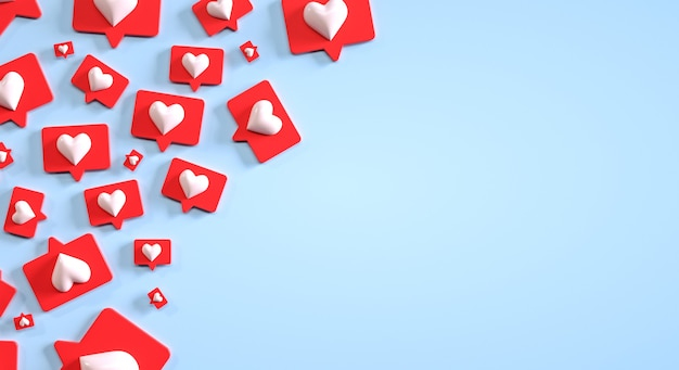 Social media marketing hoop als 3d knoppen renderen