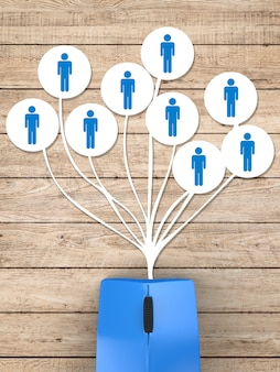 Social media netwerkconcept met blauwe muis en netwerkverbinding