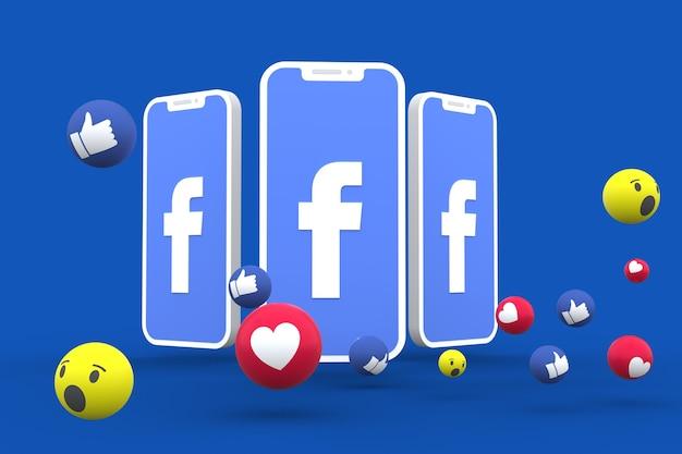 Social media-symbool op scherm smartphone of mobiel en social media reacties love, wow, like emoji 3d render