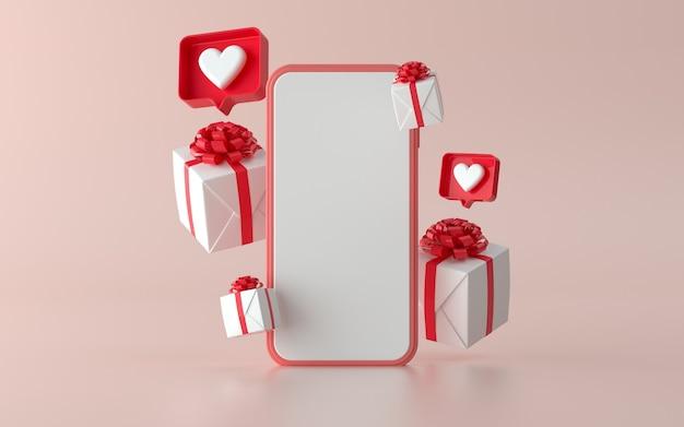 Social media telefoon met kerstcadeau illustratie voor banner. 3d illustratie
