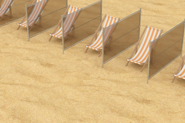 Sociale afstand op het strandconcept. beach relax chairs met glazen voeringen op een strandzandachtergrond. 3d-rendering